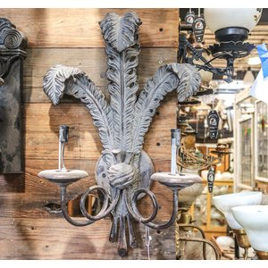 Pair of 2 Socket Sconce Lights with Feather Design