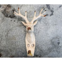 White Iron Deer Head Hook