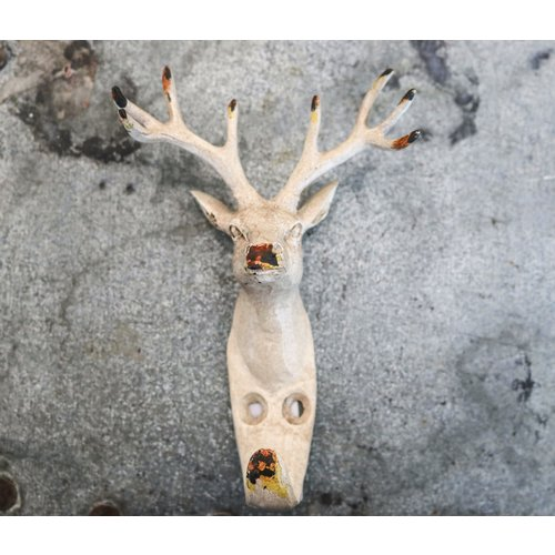 White Iron Deer Head Hook