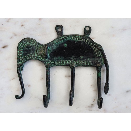 Bronze Elephant Wall Hook from India