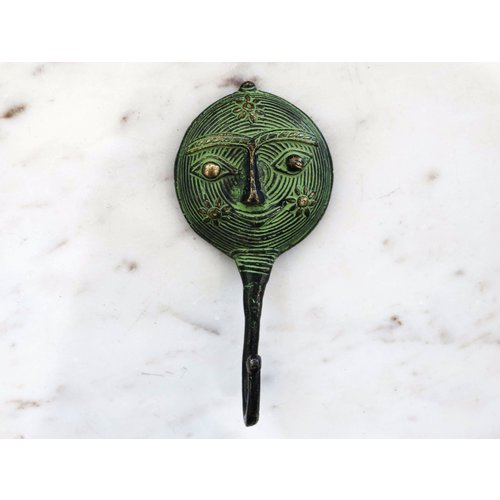 Brass Tribal Face with Patina Wall Hook from India
