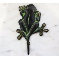 Black Brass Frog Wall Hook from India