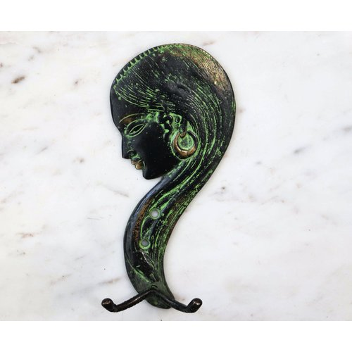 Bronze Face with Long Hair Wall Hook with Patina from India