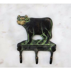 Brass Cow Wall Hook from India