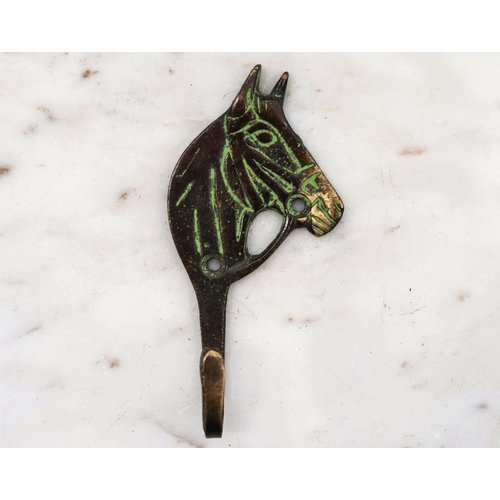 Black Brass Western Horse Wall Hook from India