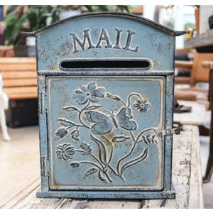 Embossed Tin Mail Box Distressed Blue