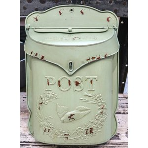 Embossed Tin Post Box Distressed Aqua