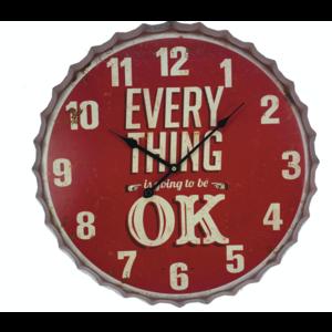 Everything OK Clock – Red – Tin