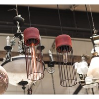 Industrial Cement and Iron Pendant Light with Cylinder Cage