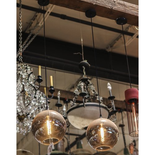 Industrial Pendant Light with Smokey Grey Glass Globe