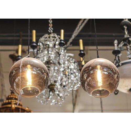 Industrial Pendant Light with Smokey Grey Glass Globe