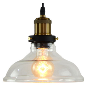 Black and Brass Industrial Pendant Light with Glass Shade