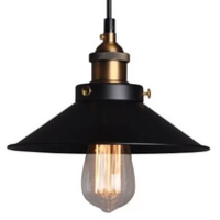Black and Brass Industrial Pendant Light