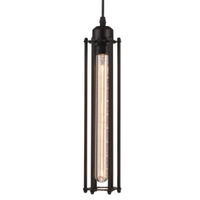 Black Industrial Pendant Light with Cylinder Cage