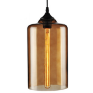 Industrial Pendant Light with Amber Glass Glass Cylinder Shade