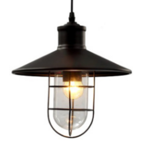 Black Industrial Pendant Light with Cage