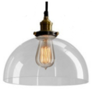 Black Industrial Pendant Light with Clear Dome Glass Shade