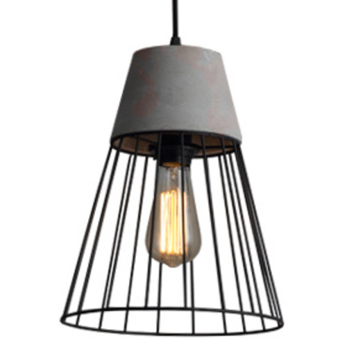 Industrial Cement and Iron Pendant Light with Cone Cage