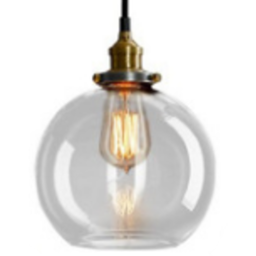Black and Brass Industrial Pendant Light with Glass Ball Shade