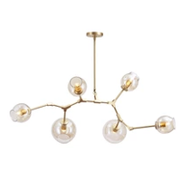 Post Modern Chandelier with Amber Glass Globes