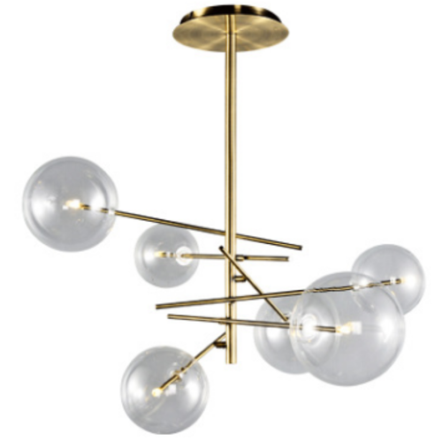 Modern Nordic Chandelier with Clear Glass Globes