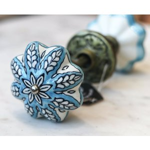 Blue and White Porcelain Pair of Knobs