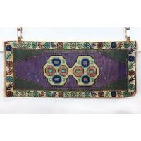 Handmade Vintage Turkish Kilim - Tan + Purple