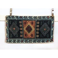 Handmade Vintage Turkish Kilim - Blue + Brown
