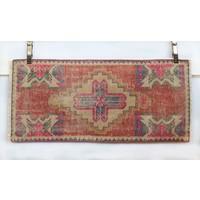 Handmade Vintage Turkish Kilim - Red + Pink