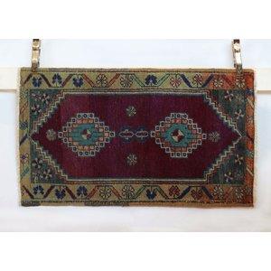 Handmade Vintage Turkish Kilim - Red + Tan