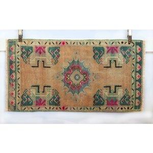 Handmade Vintage Turkish Kilim - Turquoise + Pink