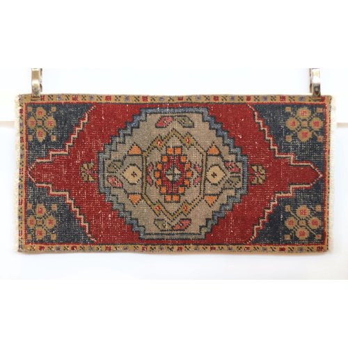 Handmade Vintage Turkish Kilim - Red + Teal