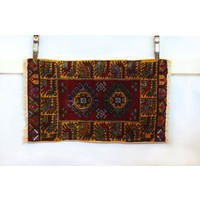Handmade Vintage Turkish Kilim - Red + Orange
