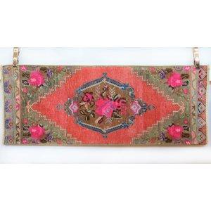 Handmade Vintage Turkish Kilim -Pink + Brown