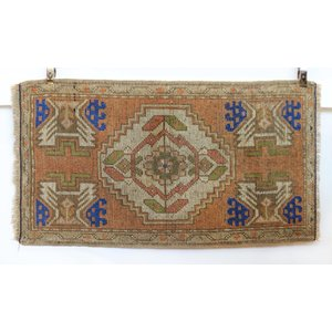 Handmade Vintage Turkish Kilim - Peach + Blue