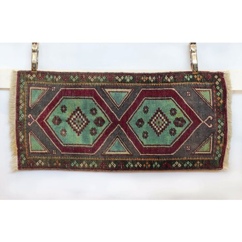 Handmade Vintage Turkish Kilim - Maroon + Purple
