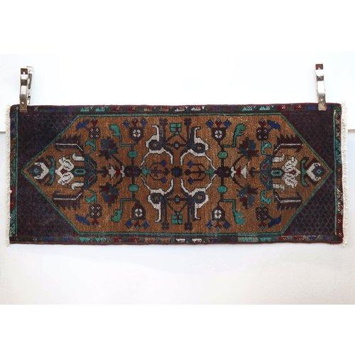 Handmade Vintage Turkish Kilim - Maroon + Blue