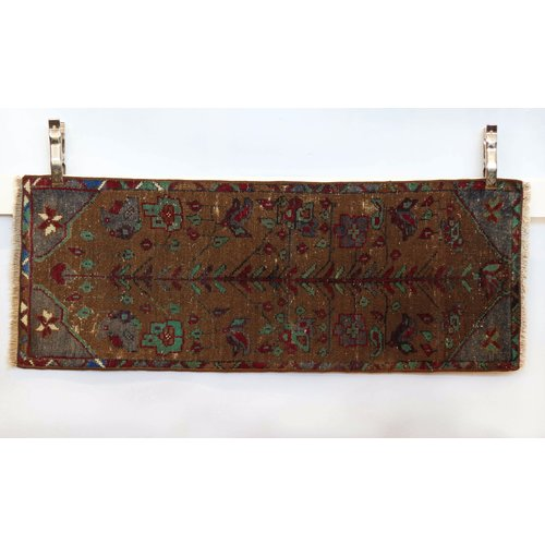 Handmade Vintage Turkish Kilim - Red + Tan