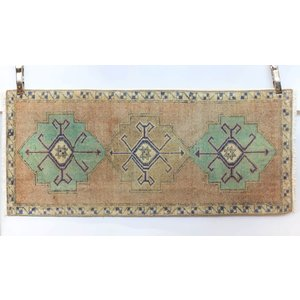 Handmade Vintage Turkish Kilim - Blue + Tan