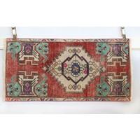 Handmade Vintage Turkish Kilim - Blue + Red