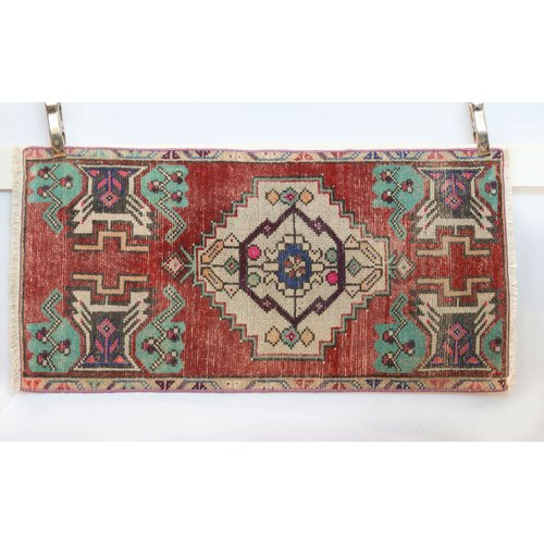 Handmade Vintage Turkish Kilim - Blue + Red