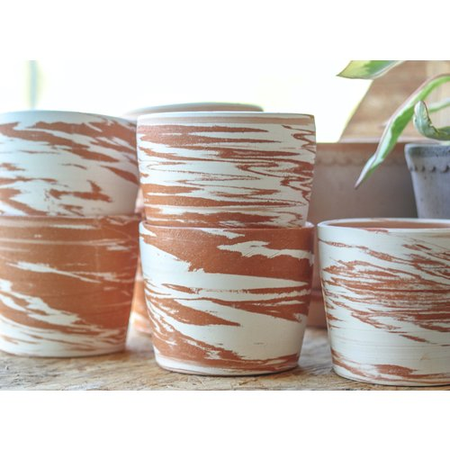 Hand Thrown Marbled Pot by Sage