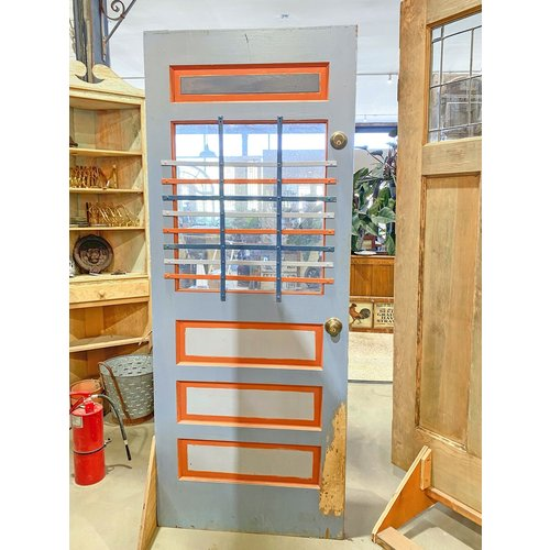 Orange & Blue 4 Panel Half Light Door with Hardware