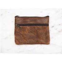 Brown Leather Coin Purse- Marshé