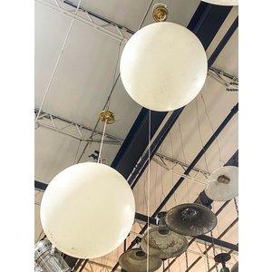 Brass Pendant Light with White Acrylic Globe