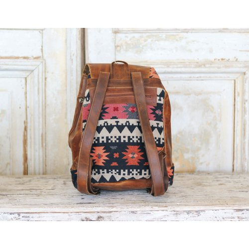 Marshe Coral Marshé Leather + Fabric Backpack