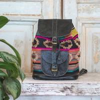 Boho Marshé Black Leather Backpack