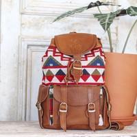 Geometric Fabric + Tan Leather Marshé Backpack