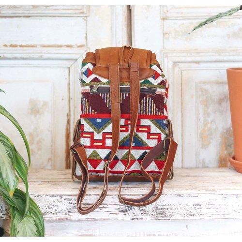 Marshe Geometric Fabric + Tan Leather Marshé Backpack