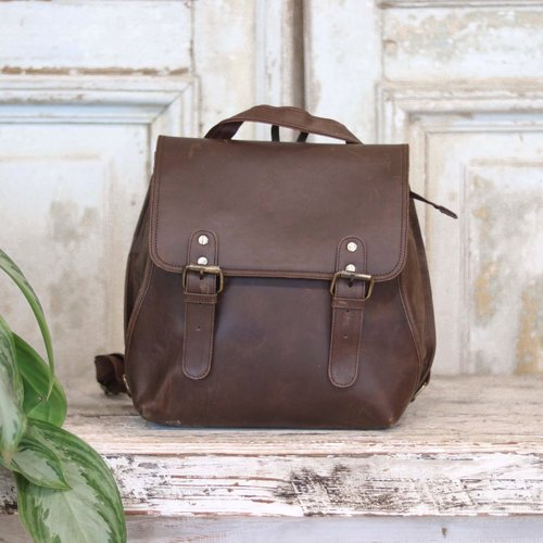 Marshe Marshé Brown Leather Backpack